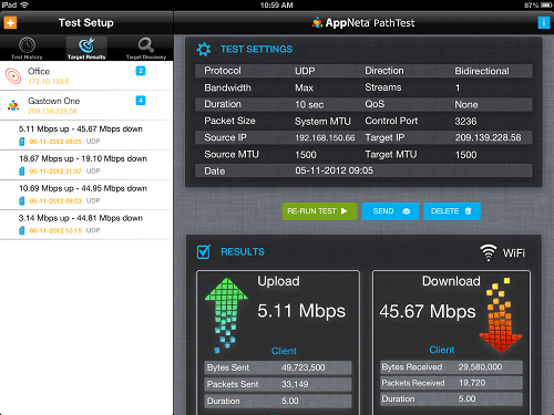 Measure Network Performance from your iPad